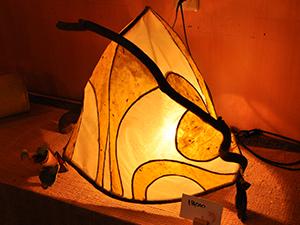 和紙と木のランプ